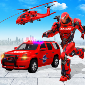 Flying Police SUV Robot Car Driving: Robot Games Icon